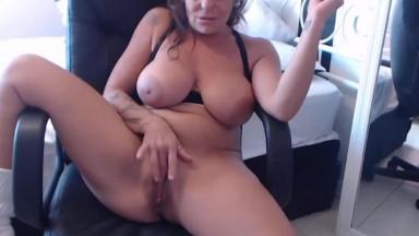 Super hot busty mature Anastazia rides dildo and gets cum