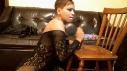Gorgeous Latin MILF Indiana Rose in fishnets squirting