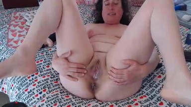 Curvy housewife Trixxi with a big collection of sex toys