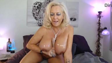 Sensual posh MILF Pantera with immense boobs gets orgasm
