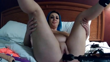 Blue haired nympho Paige down for fun with a fuck machine