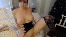 Pretty brunette Victoria in sexy lingerie pounding pussy