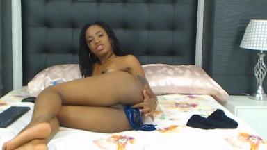 Black panther Gabriella gagging n stuffing panties in ass