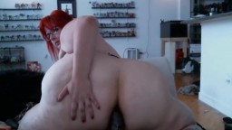 Anal addicted red BBW Arsenic stretches huge 62 inch ass