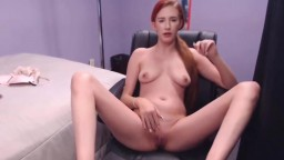 Little redheaded girl Emily Orion cums while roleplaying