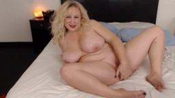 Chubby blond mother Nina with massive breast teasing you