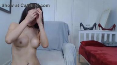 Posh Asian MILF Diora Brooks with high heels gets orgasm