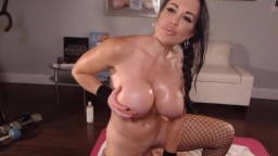 Glamour fitness model Samantha with big fake tits riding